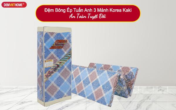 Đệm Bông Ép Tuấn Anh 3 Mảnh Korea Kaki
